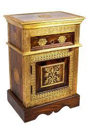 Orientalischer Holz Nachttisch Gowri Dunkel Holz Messing 65cm Hoch