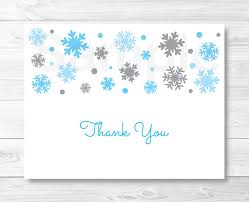 Winter Snowflake Thank You Card Folded Card Template