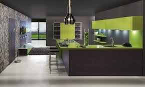 Kitchen:Contemporary Kitchen Design With Dark Grey Wall Paint And Green  Kitchen Countertop Ideas Contemporary