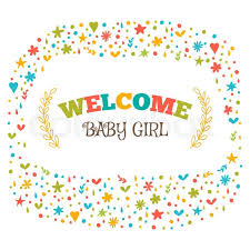 baby postcard baby girl shower card welcome baby stock vector colourbox