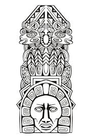 Adult Coloring Pages Mayan Mask 3