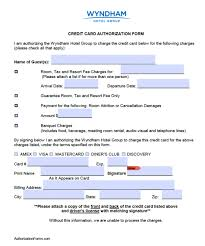 cc auth form free wyndham hotel credit card authorization form pdf word