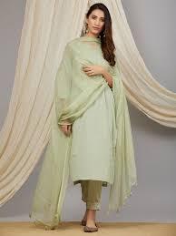 Kota Doria Suits Designs Green Cotton Mul Kurta With Pants And Embroidered Kota Doria