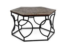 babylone hexagonal coffee table wood