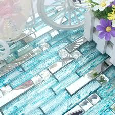 stainless steel backsplash blue glass mosaic tiles kitchen back splash diamond mosaic h20 crystal glass