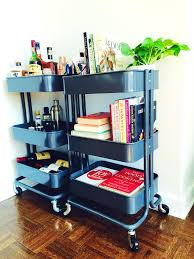 retro red metal rolling kitchen utility on the eye smart ways to use ikea raskog cart for home storage digsdig