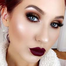 when you blend your brown eyeshadow with shimmer you are obviously on fire to add more glam to this look all you have to do it wear a dark plum lipstick