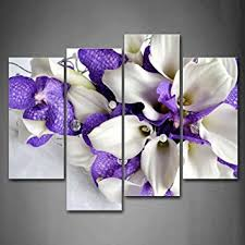 amazon bunch of flowers in white and dark purple wall art painting pictures print on canvas flower the picture for home modern decoration posters  on canvas wall art purple flowers with amazon bunch of flowers in white and dark purple wall art