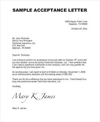 Acceptance Letter For Offer How To Write An Acceptance Letters Sample Job Acceptance