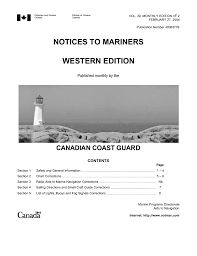 Notices To Mariners Western Edition Canadian Coast Guard