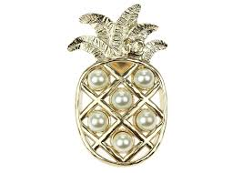 chanel pin. chanel 17c soft gold pineapple pearl cc brooch pin | consignment designer vault