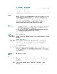 Resume Format For Students With No Experience Cover Letter Example