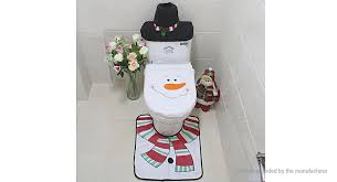snowman styled toilet seat cover rug tissue box cover set decoration 3 piece