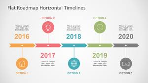 timrline flat roadmap horizontal timelines for powerpoint