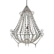 emac lawton grey and white beaded chandelier