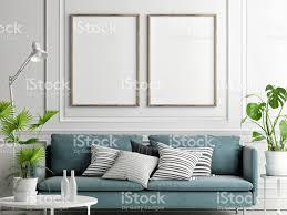 Mock Up Posters Pastelkleurige Comfortabele Bank Woonkamer Stijl
