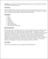Resume Templates: Mechanic Assistant
