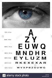 Man Blue Eye With Test Vision Chart Close Up Stock Photo