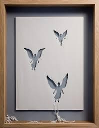 dead angels 2007 acid free paper glue acrylic paint and oak frame 127 x 94 x 11 5 cm