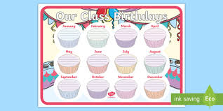 Chart Display Cupcake Themed Our Class Birthday Chart Display Poster