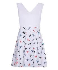 Iska London Size Chart Iska London White Dragonfly Fit Flare Dress
