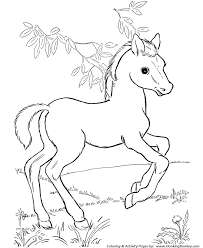 Small Picture Horse Coloring Pages Printable horses and foal Coloring Page