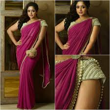 Simple Saree With Heavy Designer Blouse Stylish Georgette Saree With Designer Blouse Call
