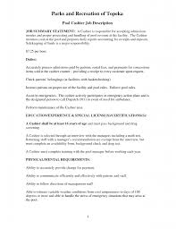 Job Description Examples Ofsumes For Best Of Cashier ...