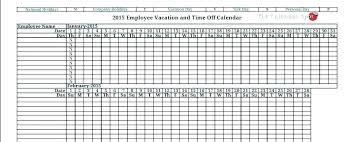 Request Off Calendar Template Employee Vacation Calendar Template Holiday 2017