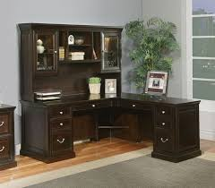 furniture beautiful mainstays l shaped desk with hutch plus storage and computer set in a room with gray wall and wooden floor plus gray carpet