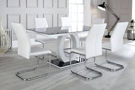 glass white dining table high gloss and glass dining table and 6 chairs set round white