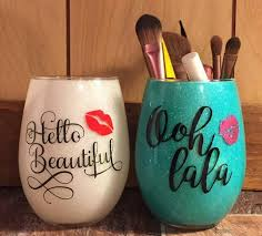 diy glittery mug has lips image and signature that make chic appearance charm full hand decorate mug you can used for makeup brush holder if you like then