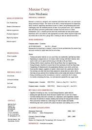 Auto Mechanic Resume Vehicles Car Sample Example Job