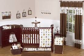 brown owl ba nursery bedding set 9pc ba boy owl crib collection with regard to baby