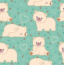 White Bears Background Cute Icons Repeating Design Free