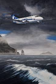 ballyhoo departure original watercolor by alaskan artist bob thompson depicts an ace commercial aircraftlimited