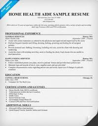 Resume For Home Health Aide