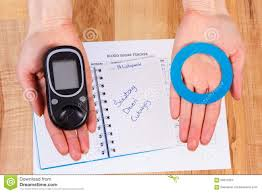 glucometer and blue circle in hand symbol of diabetic world glucometer and blue circle in hand symbol of diabetic world diabetes day