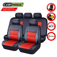 universal faux leather black red car seat covers for car truck suv split rear