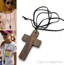 whole retro design korean fashion big wood wooden cross pendant hide rope string chain vintage sweater necklace jewelry xmas gifts