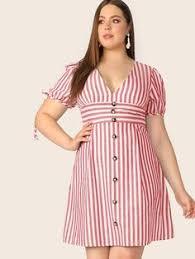 Plus <b>Button</b> Front Striped Belted Dress | SHEIN | xilola в 2019 г ...
