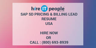 Sap Sd Pricing Billing Lead Resume Hire It People We Get It Done