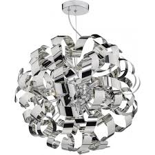 rawley 9 light circular ceiling pendant wrapped in twirling chrome ribbons