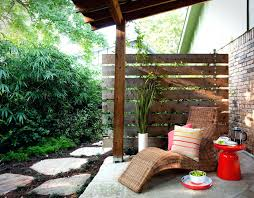 outdoor privacy wall horizontal fence patio traditional with brick chaise image by b gardens