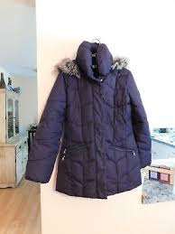 Kate Spade Womens Navy Winter Midi Hooded Quilted Coat