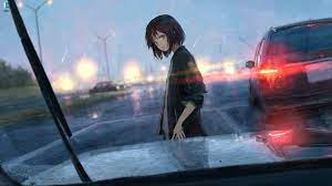 Anime girl and rain on the windshield ...