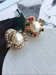 fashion new brand flower big pearl ring vintage inital letter logo color ...