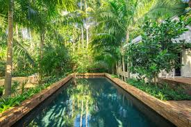 lush landscaping ideas. Brick Swimming Pool And Tropical Plants Lush Landscaping Ideas R