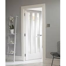 internal white primed aston 3l door with clear glass wastn3p gc