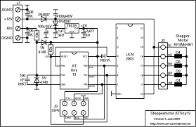 steppermotor controller attiny13 schematic